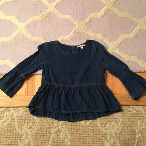 Francesca's dark Denim Blue BOHO ruffle hem Top